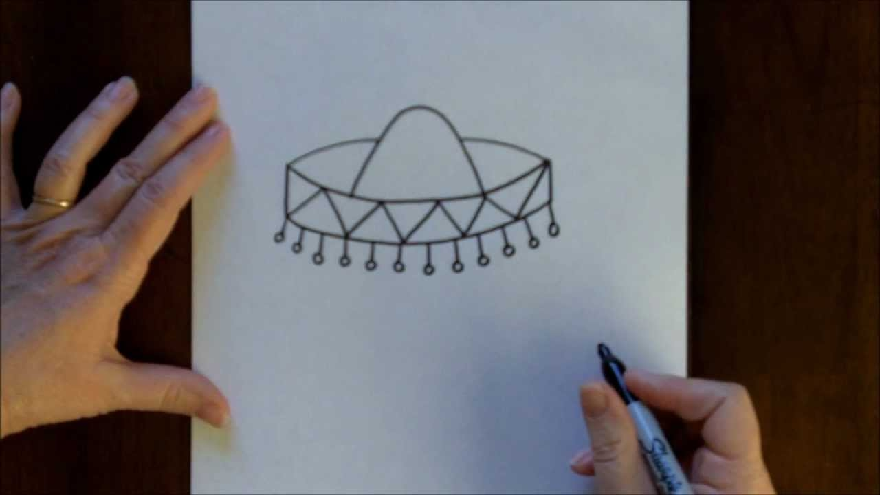 How To Draw A Sombrero Cartoon Step By Step Drawing Tutorial For