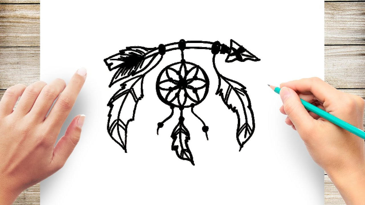How To Draw Dream Catcher Youtube