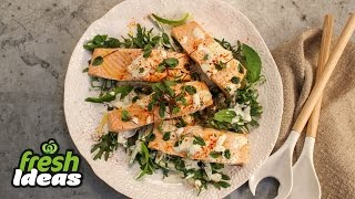 Poached Salmon Recipe With Kale, Cucumber And Mint