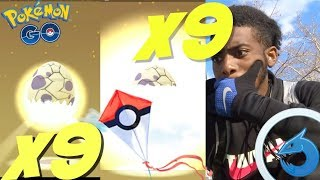 HATCHING 9 WINDY 10K EGGS IN POKEMON GO+NEW RAID BOSSES AND INSANE SPAWNS!!