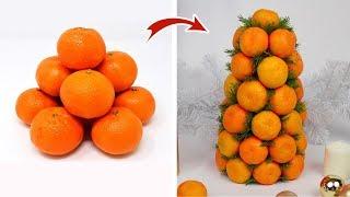 как сделать елку из мандаринов своими руками