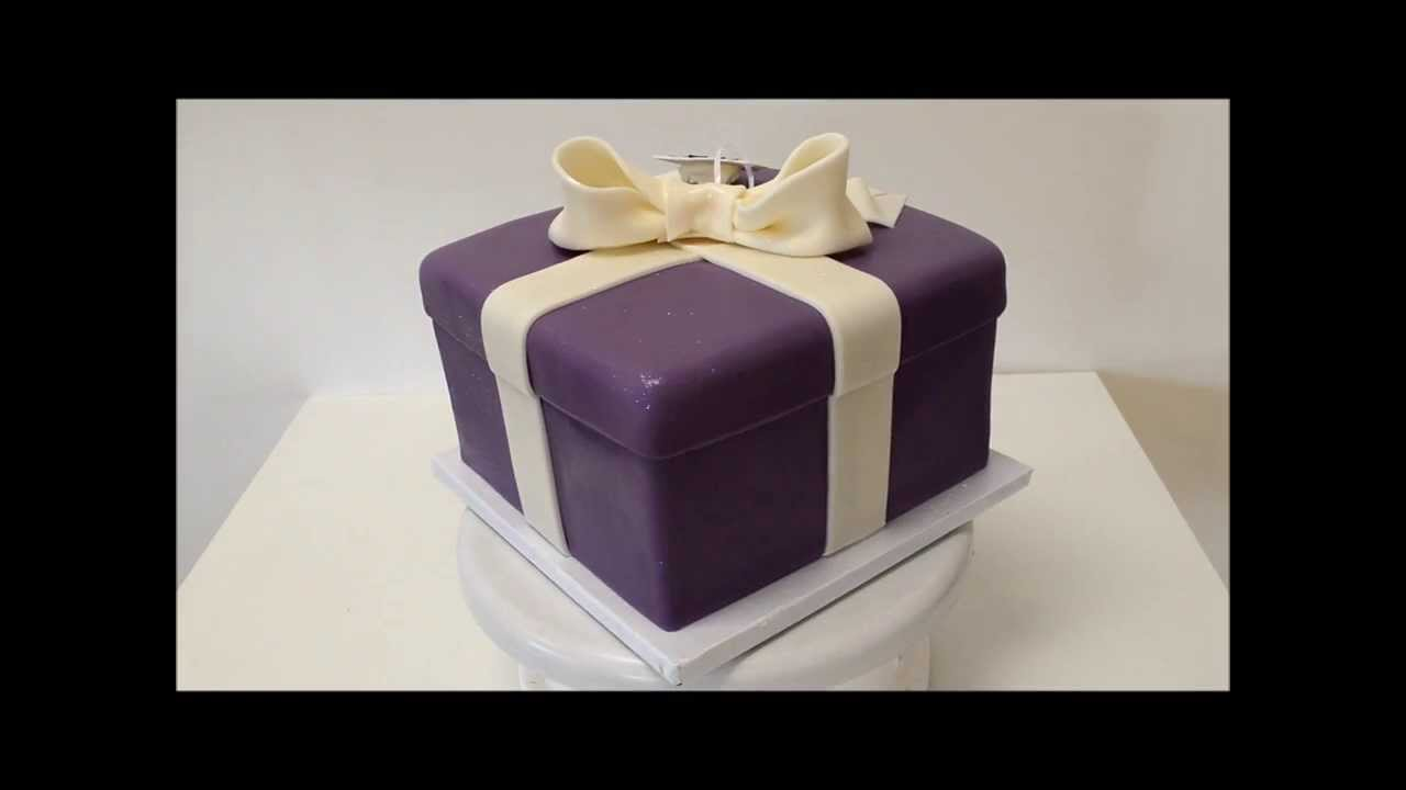 Cake Gift Box Fondant : Present Box Shape Cake covered in fondant icing - YouTube
