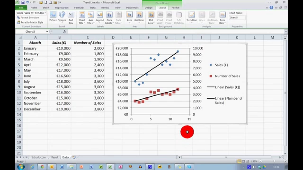 How To Add A Line Of Best Fit In Excel 2010