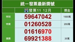 11 12月統一發票中獎號碼(2020年開獎)