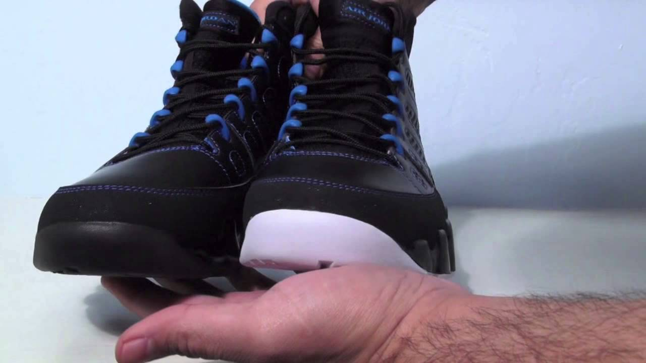 new product e3996 ccf86 Comparison: Black Bottom vs. White Bottom Air Jordan 9 (IX) Photo Blue