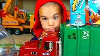 Bruder Garbage Truck Toy UNBOXING + Playing with WubbleX - JackJackPlays