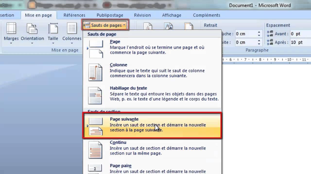 طريقة بدء الترقيم من صفحة معينة في Office Word 2007 Youtube