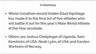 Eliud Kipchoge on course for top IAAF award after making shortlist