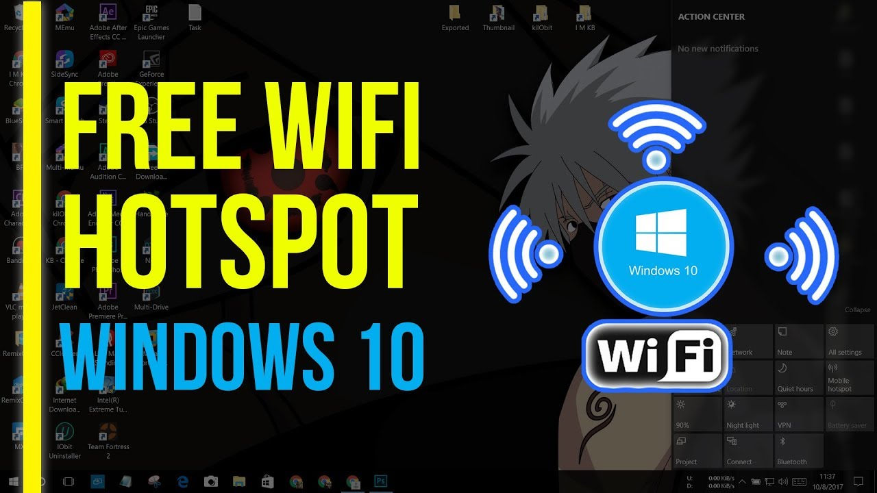 Turn Windows 10 PC into a Free Wifi Hotspot (Router) NO CMD | Share