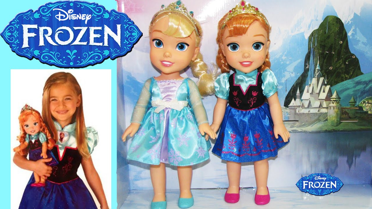 FROZEN Queen Elsa & Princess Anna Doll and Toddler Dress Gift Set