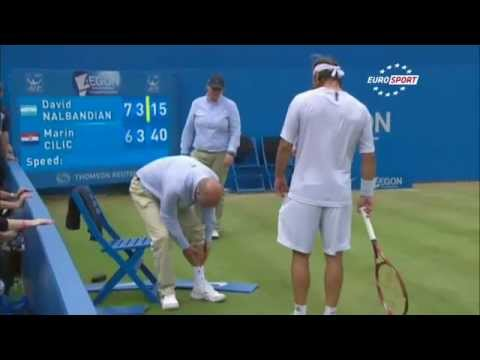 Tennis Player kicked linesman until he BLEEDS