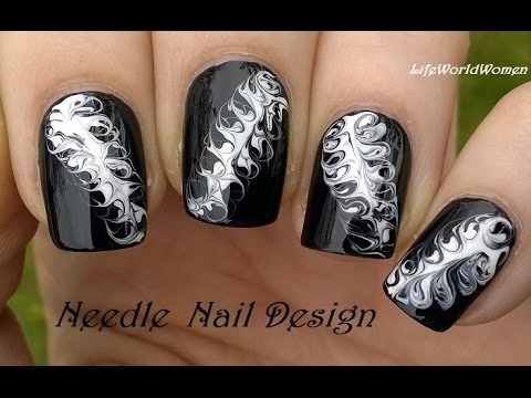 Black white needle nail art diy easy monochrome nails youtube