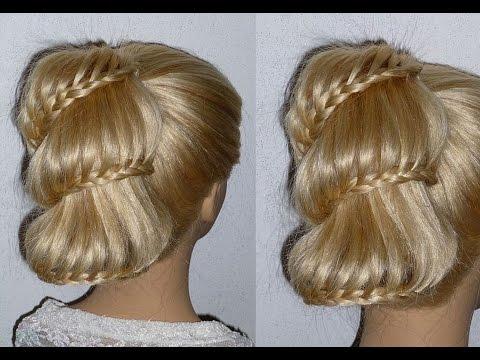 Причёска Оригинальный хвост с плетением косички на средние, длинные волосы
