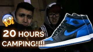 CAMPING 20 HOURS FOR AIR JORDANS!! | ROYAL 1 CAMPOUT VLOG