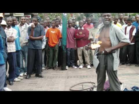 street performer in harare, zimbabwe
