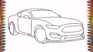 How to draw a car Ford Mustang Shelby GT350 2016 step by step easy for beginners