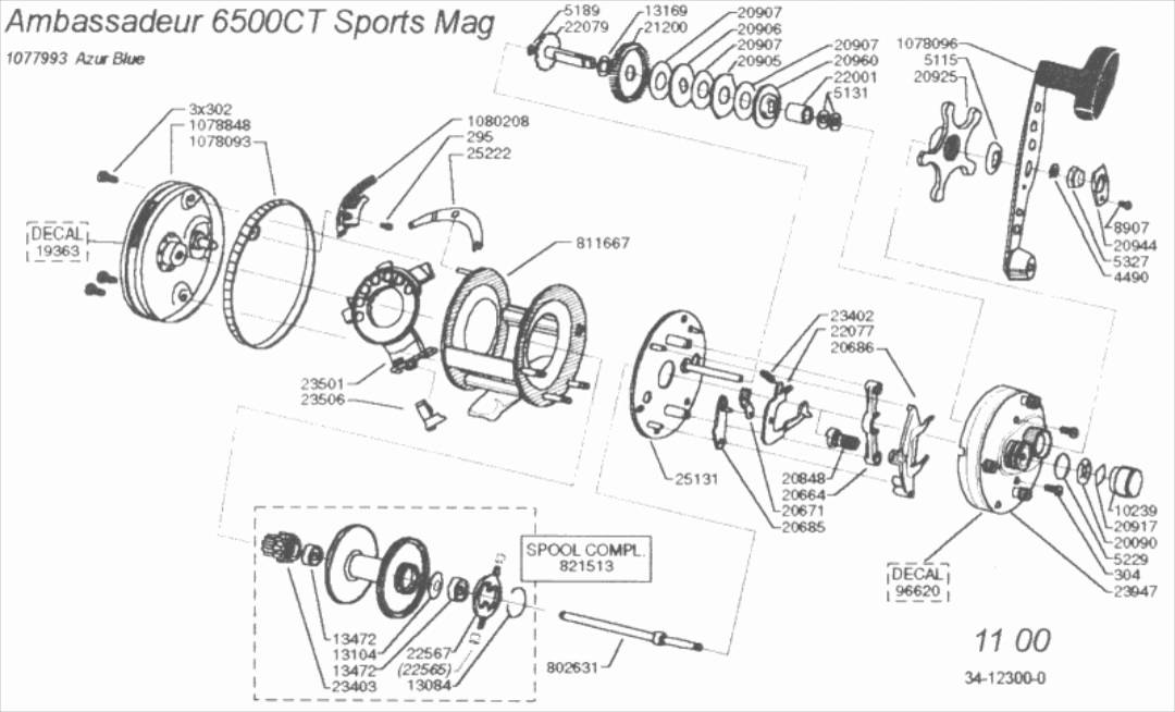 AMBADEUR 6500CT SPORT MAG 11 00. despiece. Catalog reel parts on