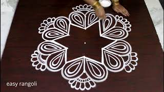 creative easy rangoli by Suneetha || beautiful kolam designs with 5 dots || Latest muggulu