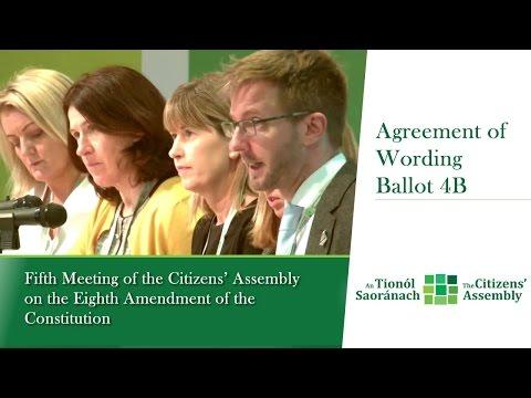 Agreement on wording of draft Ballot 4B - Sun 23 April