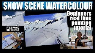 Snow Scene Watercolor Beginners Painting Tutorial with Free Photo Reference