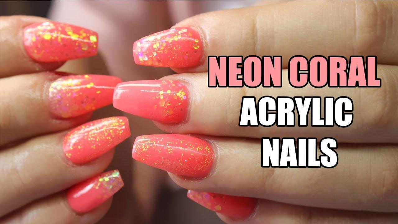 Acrylic Nails Neon Coral Summer Ninja Fairy Youtube
