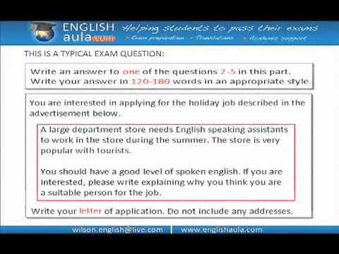FCE EXAM WRITING LETTER OF APPLICATION YouTube