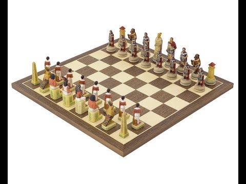 Hand Painted Egyptian vs. Romans Polyresin Chessmen Set.