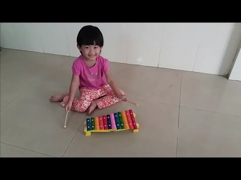 Kid playing xylophone and ABC  Nanas lovely toys and xylophone  Kid playing toys