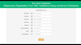 Responsive Registration Form With Validations | Registration Form With Validations Using Javascript