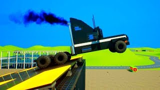 High Speed Lego Car Jumps on Mines | Brick Rigs