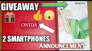 GIVEAWAY ANNOUNCEMENT 2 smartphones   oppo R7   Onida   1k subs special ( Car Guru )