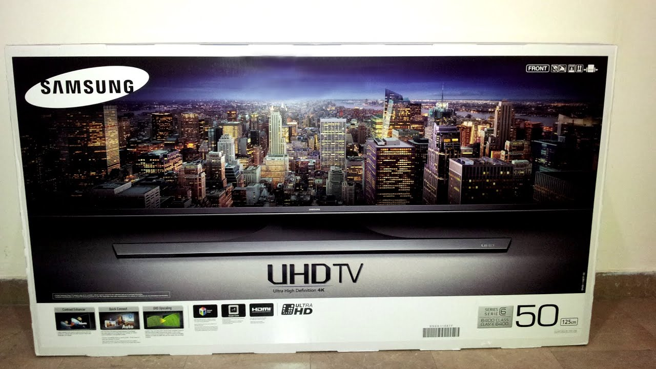 Samsung UE50JU6400W (Unboxing, Stand assembly, first boot