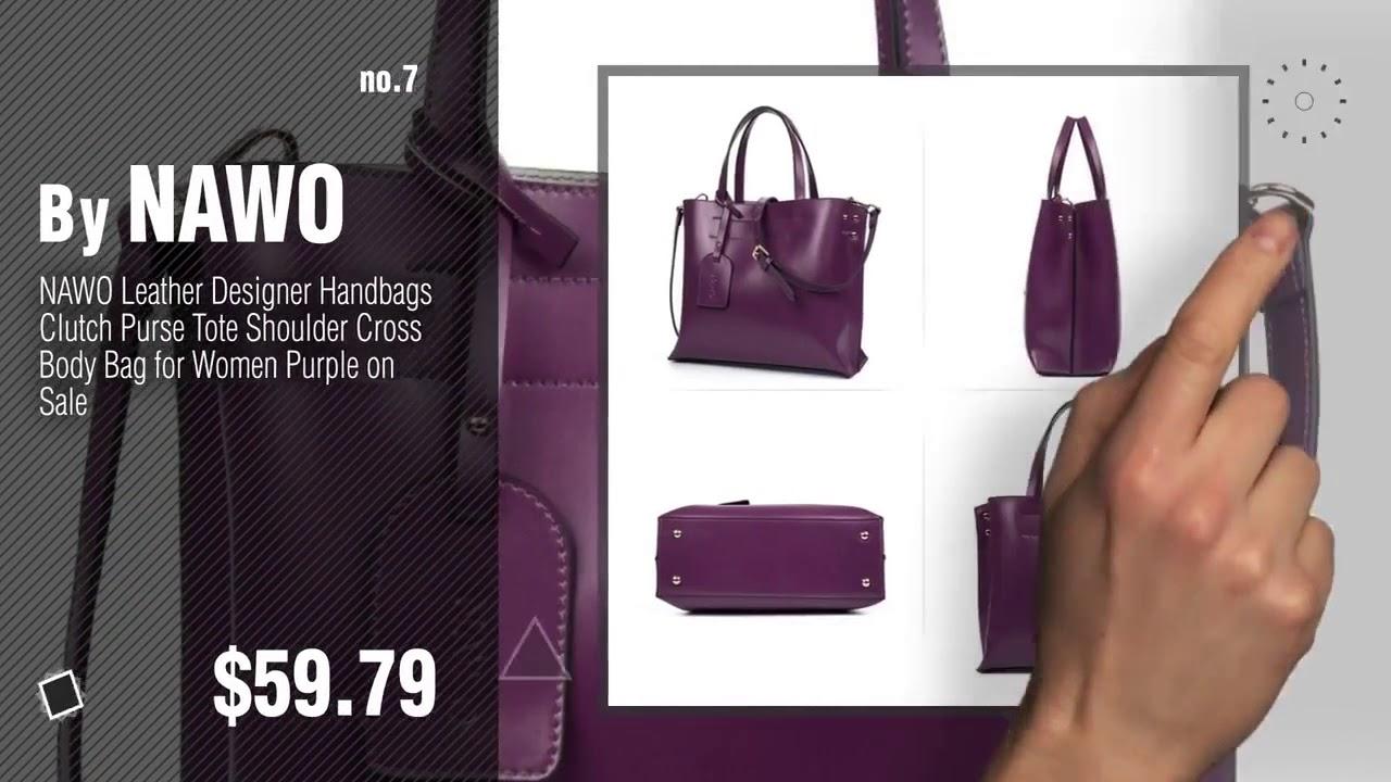 Top 10 Purple Leather Handbag Winter   NAWO Women s Leather Designer  Handbags Shoulder Tote a8e65af61decf