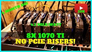 8x GPU Riser-less Mining Rig Build w/ 1070 TI + 20k Subscribers! Video