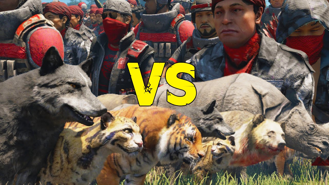 Far Cry 4 - Soldier Army VS Animal Army - AI Battle