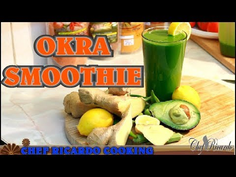 okra-smoothie-with-fresh-spinach-avocado-ice-ginger-lemon-honey- -recipes-by-chef-ricardo