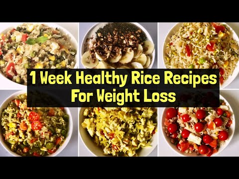 7 Healthy Rice Recipes For Weight Loss | Quick & Easy Vegetarian Lunch/ Dinner Ideas | Hindi