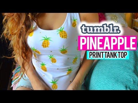 DIY : PINEAPPLE TANK TOP USING A SPOON!!! Tumblr Inspired! thumbnail