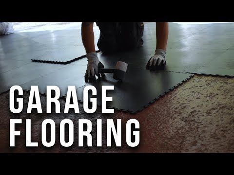 PVC Garage Flooring -  Fitting Interlocking Floor Tiles in A Large Garage - Ecotile Flooring Ltd