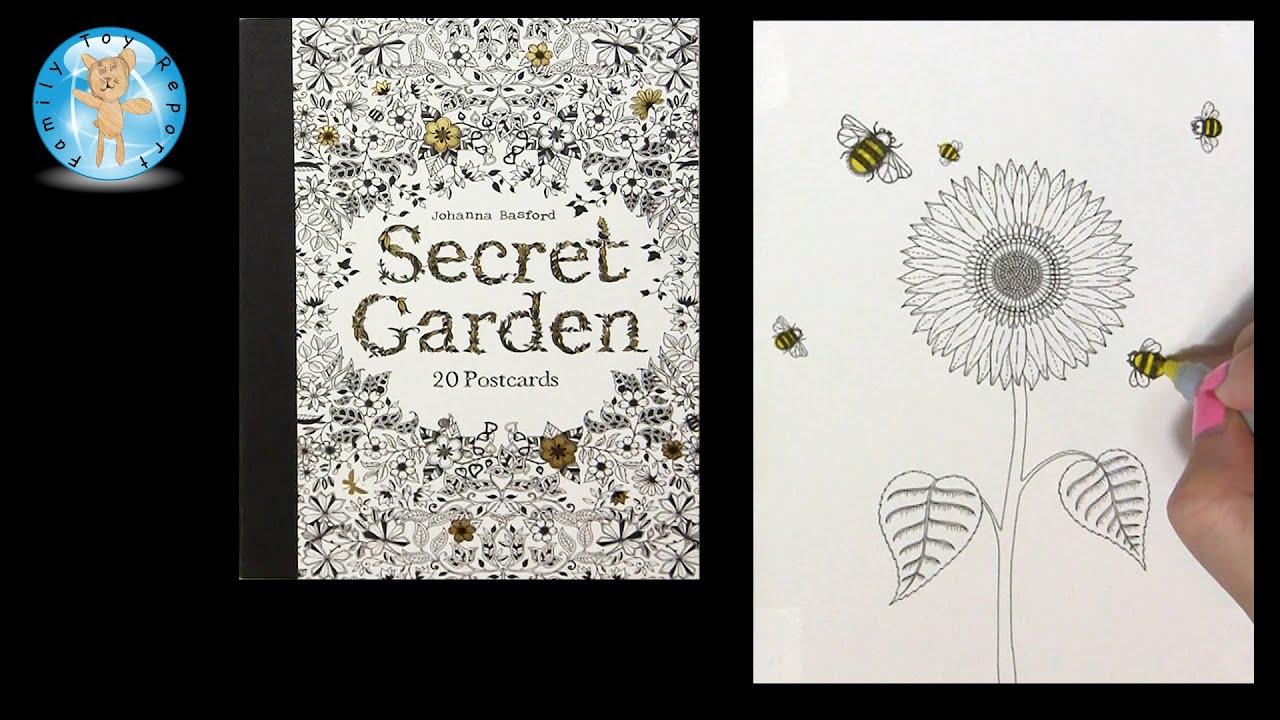 Secret Garden By Johanna Basford Adult Coloring Book Postcards Flower Bees
