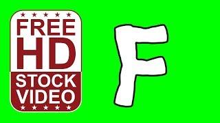 Libre de valores Videos animados letra F de estilo de dibujos animados en movimiento en la pantalla verde de animación 2D