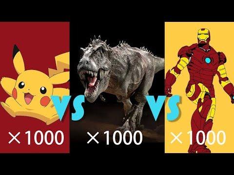 【吐嚎】1000钢铁侠、1000皮卡丘、1000霸王龙战斗谁能获胜?