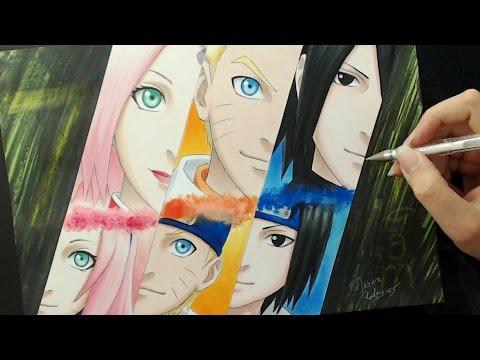 Speed Drawing - Sakura / Naruto / Sasuke
