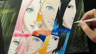 Speed Drawing - Sakura / Naruto / Sasuke