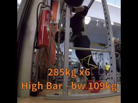 Squat 285kg X6 High Bar