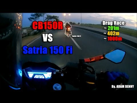 HOT! CB 150R VS Satria 150 Fi Drag Race On 201m, 402m, & 1000m - ADAM BENNY