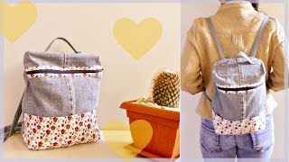 DIY Rectangular Backpack from Old Jeans