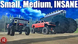 SpinTires MudRunner: Small vs Medium vs INSANE (Truck Night In America)