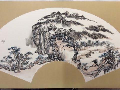 Chinese Ink Wash Painting Tutorial 中国画教学山水篇 山水扇面的经营方法(一)