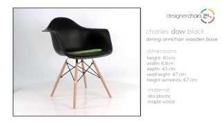 Eames Dining Armchair Wooden Base (daw) Black
